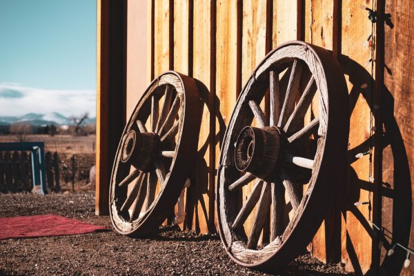 Photo of two cart wheels